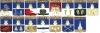 Комплект значков «Гербы городов Костромской губернии» (15 штук) (Костромская)