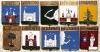 Комплект значков «Гербы городов Рижской губерния» (10 штук) (Рига, Рижская губерния)